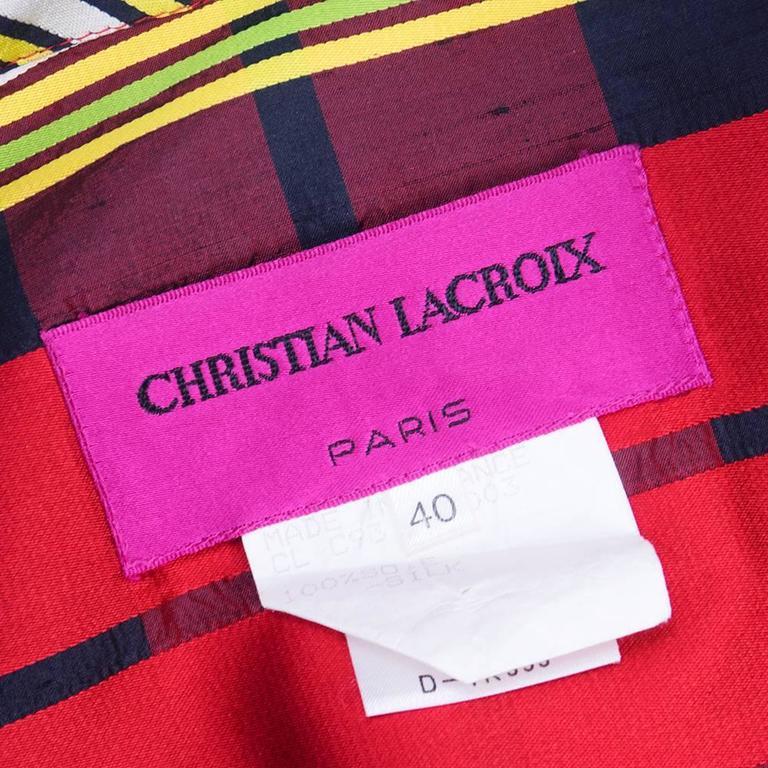 Christian Lacroix 1980s Plaid Cocktail Ensemble 5