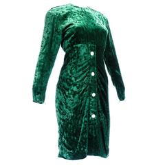 1980s Christian Dior Couture Green Velvet Cocktail Dress