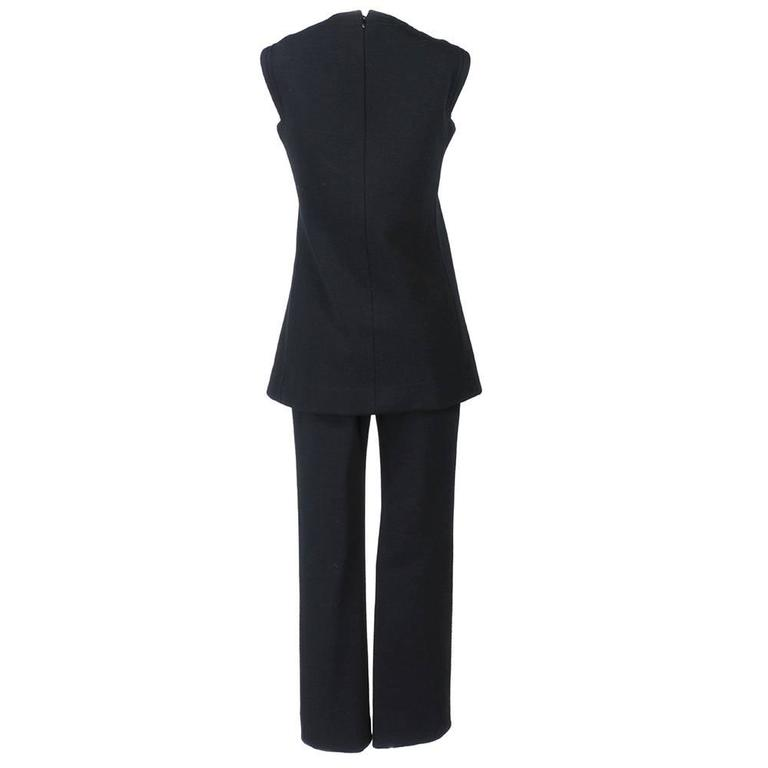 Pierre Cardin 1960s Iconic Black Wool Pantsuit 3