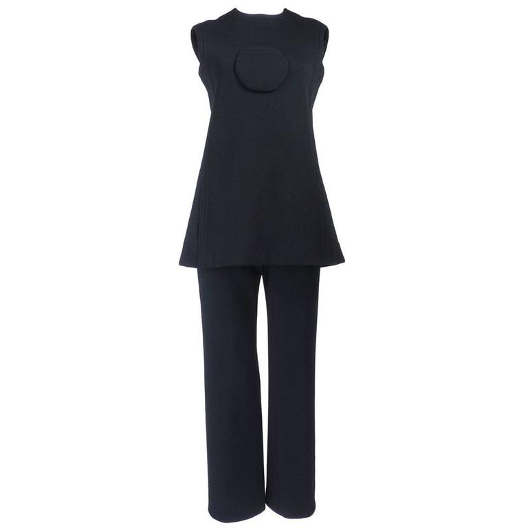 Pierre Cardin 1960s Iconic Black Wool Pantsuit 1
