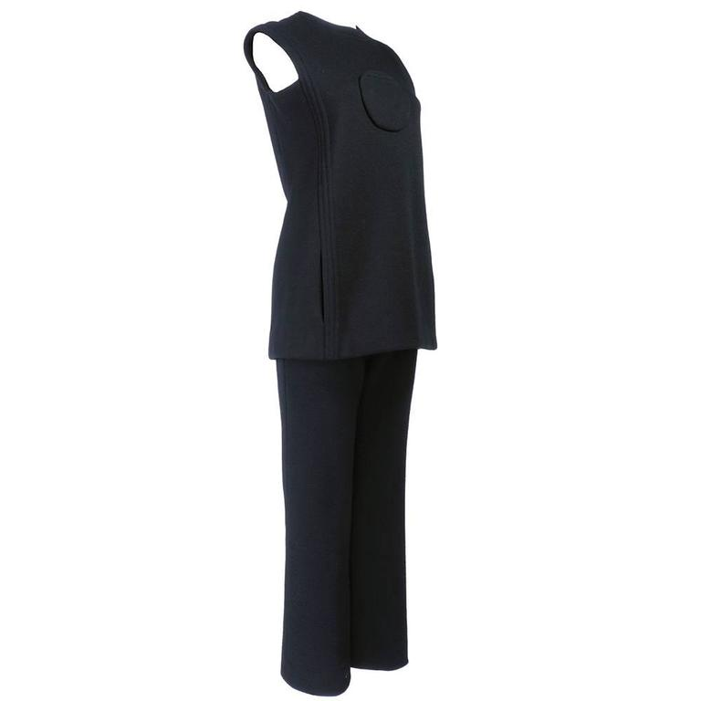 Pierre Cardin 1960s Iconic Black Wool Pantsuit 2