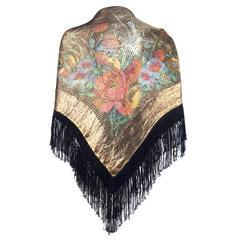 1920s Lame Deco Print Fringed Shawl