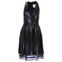 Ralph Rucci Contemporary Black sequin Cocktail Dress