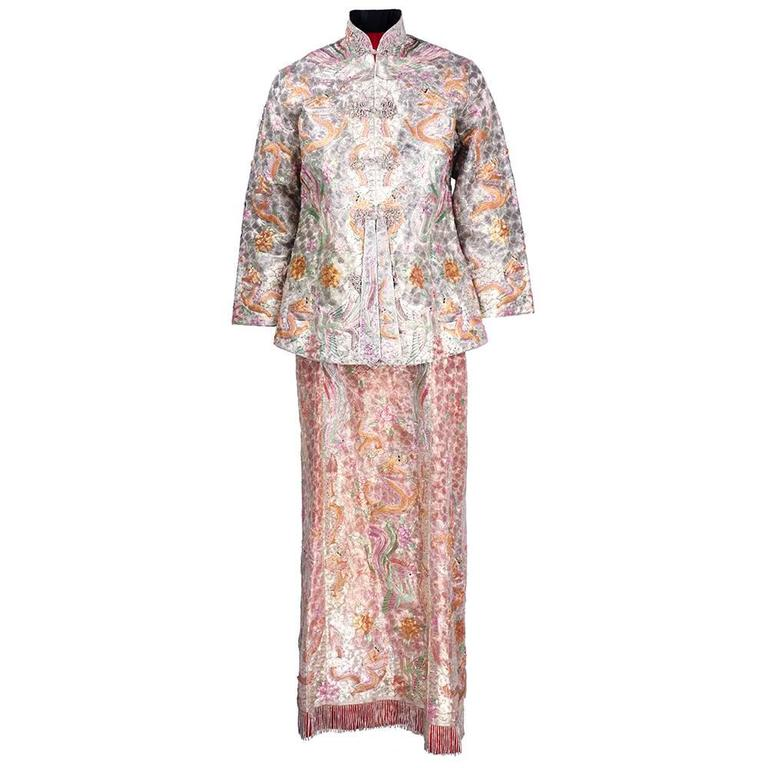 Asian Solid Couched Multi-Color Embroidered Ensemble 1