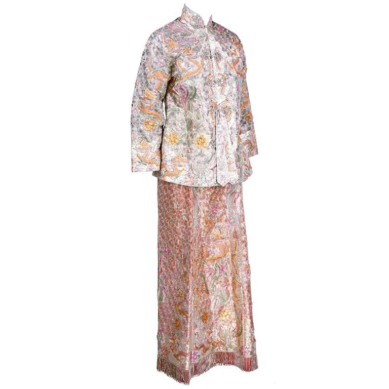 Asian Solid Couched Multi-Color Embroidered Ensemble 3