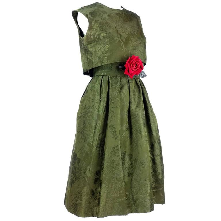 Adele Simpson 1960s Green Jacquard Dress with Rose 1