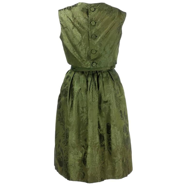 Adele Simpson 1960s Green Jacquard Dress with Rose 2