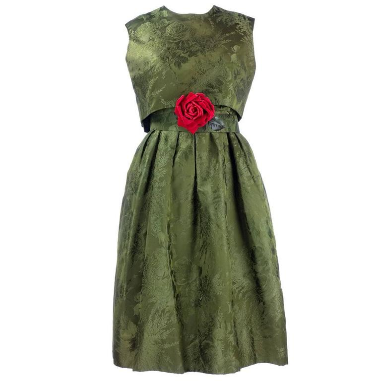 Adele Simpson 1960s Green Jacquard Dress with Rose 3