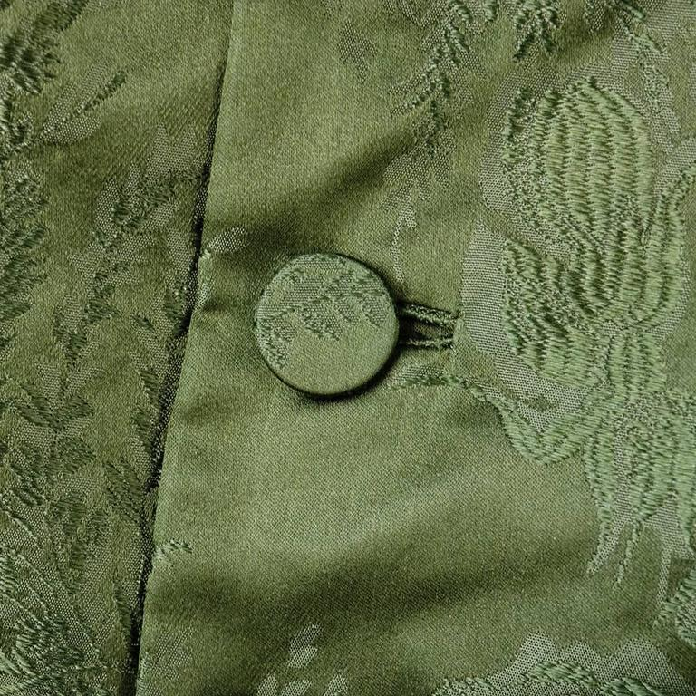 Adele Simpson 1960s Green Jacquard Dress with Rose 4