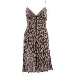 Valentino 1990s Brown Silk Sequin Slip Dress