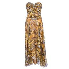 Vicky Tiel 1980s Animal Print Strapless Dress