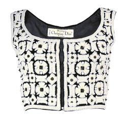 Christian Dior 1970s Lesage Embellished Cropped Top/Vest