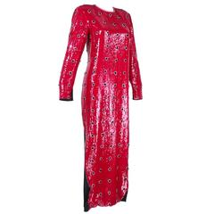 Geoffrey Beene Iconic 80s Red and Black Sequin Column Gown