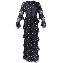 Bill Blass 1990s Silk Chiffon Polka Dot Ensemble