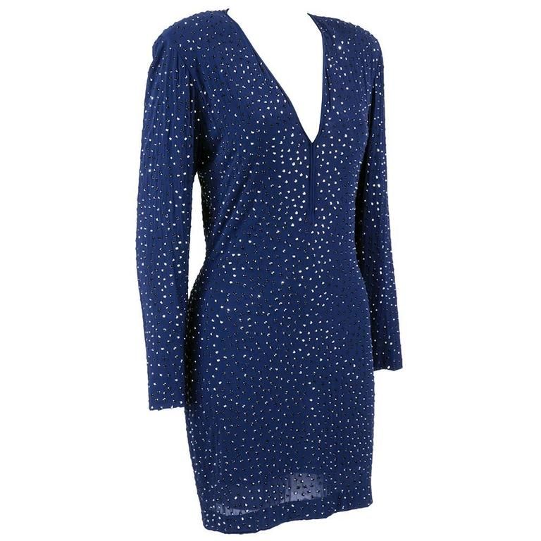 Pamela Dennis 1990s Blue Jersey Rhinestone Studded Cocktail Dress 2
