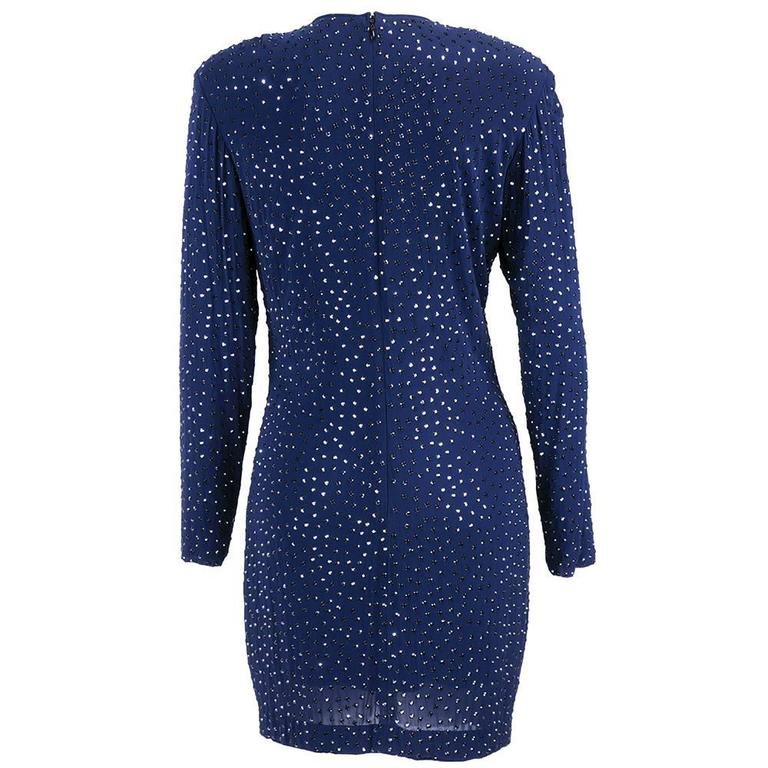 Pamela Dennis 1990s Blue Jersey Rhinestone Studded Cocktail Dress 3
