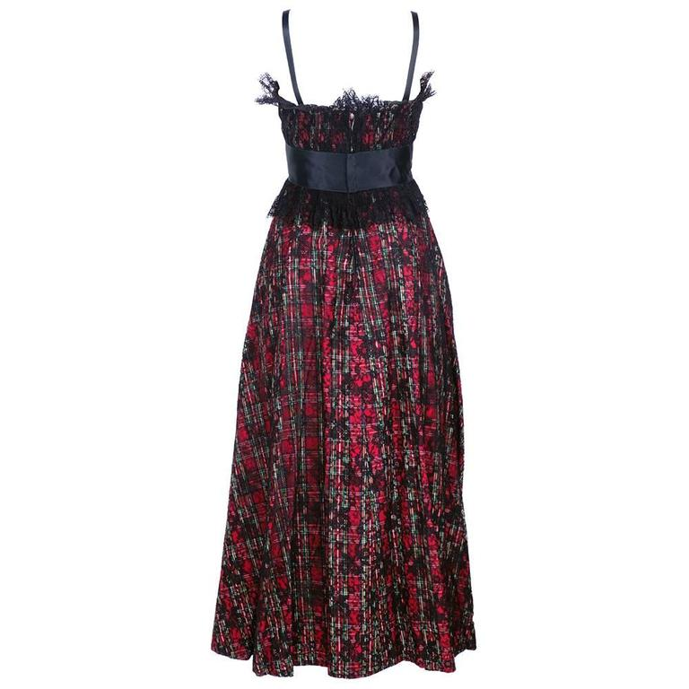 Geoffrey Beene Boutique Plaid Gown with Black Lace Overlay 2