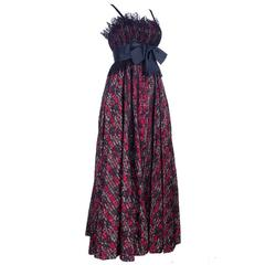 Geoffrey Beene Boutique Plaid Gown with Black Lace Overlay