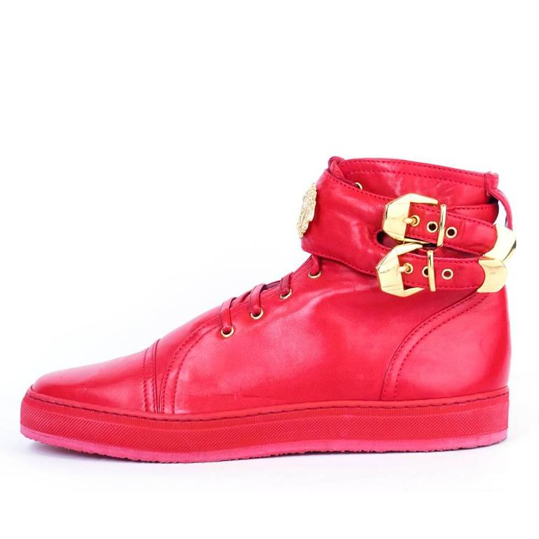 Lifetime Versace Red Leather High Top Sneakers For Sale at ...