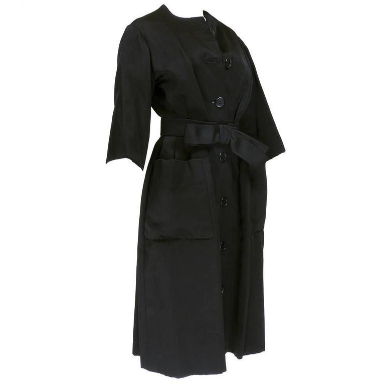 Christian Dior Haute Couture Spring/Summer 1959 Black Silk Faille Coat Dress  2