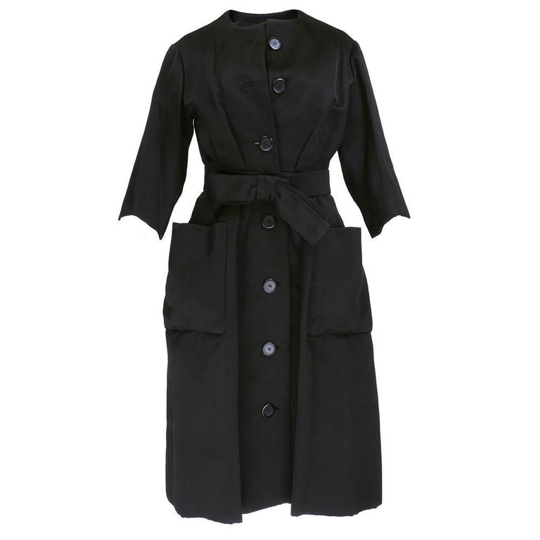 Christian Dior Haute Couture Spring/Summer 1959 Black Silk Faille Coat Dress  1