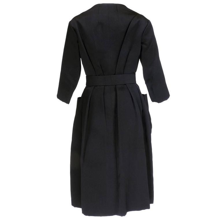 Christian Dior Haute Couture Spring/Summer 1959 Black Silk Faille Coat Dress  3