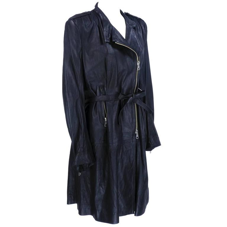 Demeulemeester 90s Black Biker Style Trench Coat 2