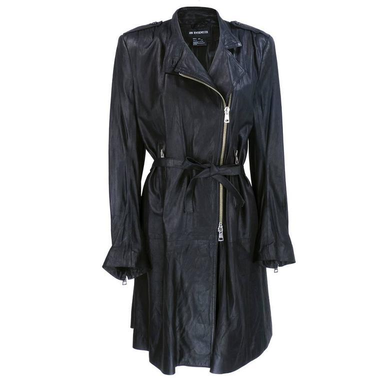 Demeulemeester 90s Black Biker Style Trench Coat 1