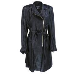 Demeulemeester 90s Black Biker Style Trench Coat