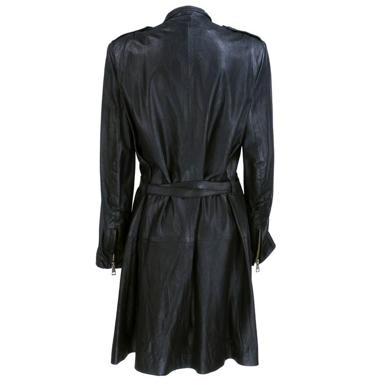 Demeulemeester 90s Black Biker Style Trench Coat 3