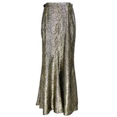 YSL 80s Full Length Gold Lame Skirt