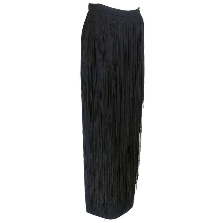 Moschino Couture 90s Long Fringed Black Skirt 1