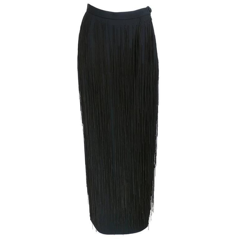 Moschino Couture 90s Long Fringed Black Skirt 2