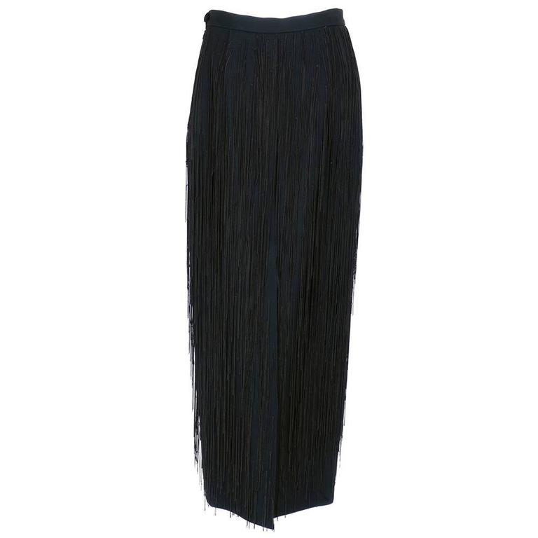Moschino Couture 90s Long Fringed Black Skirt 3
