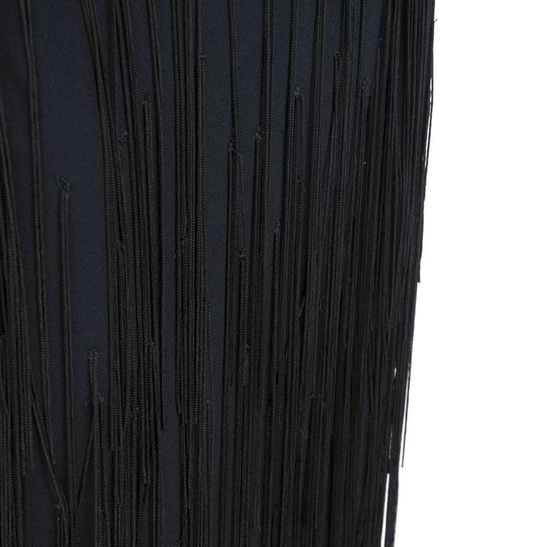 Moschino Couture 90s Long Fringed Black Skirt 4