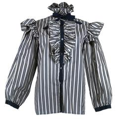 Saint Laurent Rive Gauche Ruffled and Striped Silk Taffeta Blouse