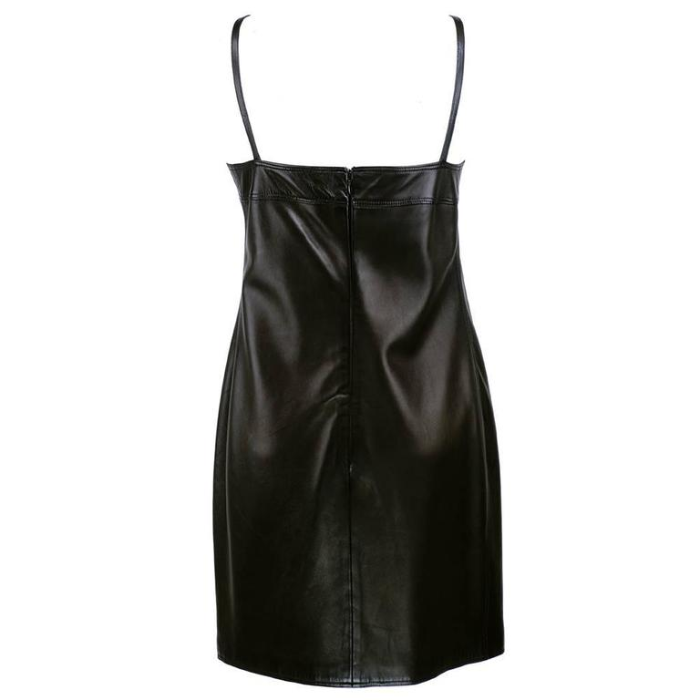 Gianni Versace Black Leather Dress - New with Tags 2