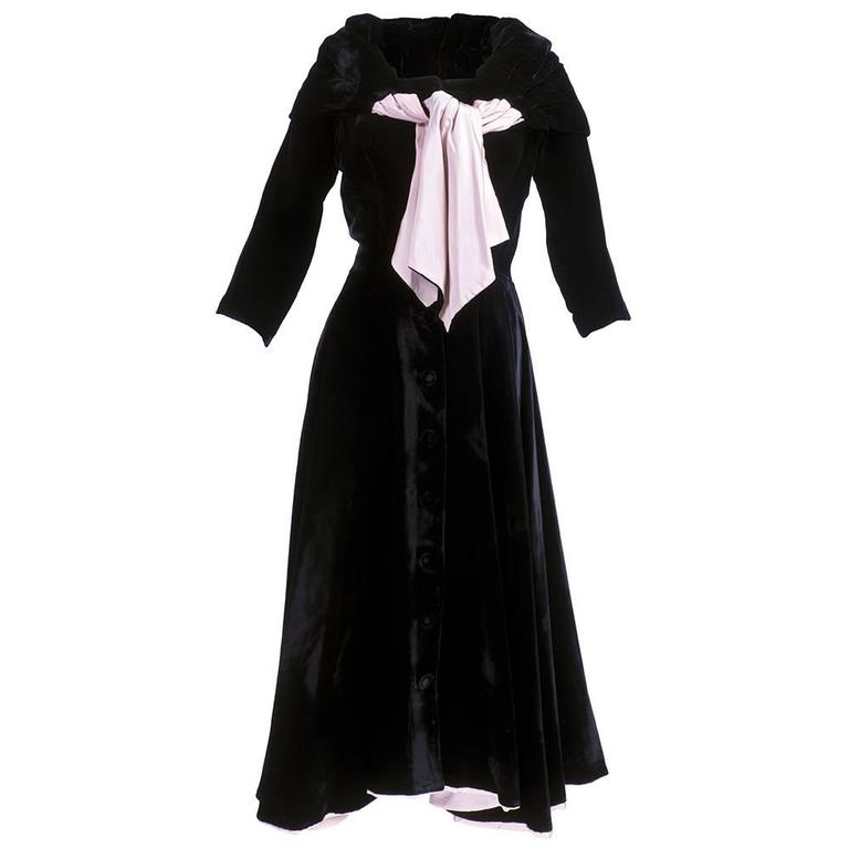 Don Loper 1950s Black Velvet Coat Dress 1