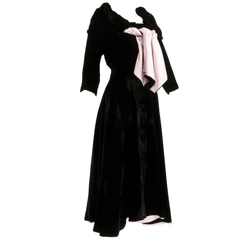 Don Loper 1950s Black Velvet Coat Dress 2
