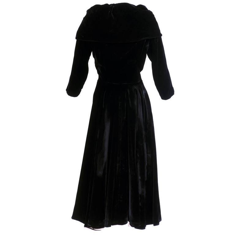 Don Loper 1950s Black Velvet Coat Dress 3