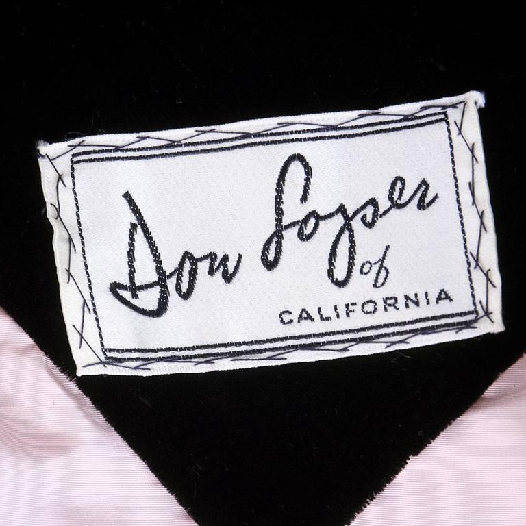 Don Loper 1950s Black Velvet Coat Dress 5