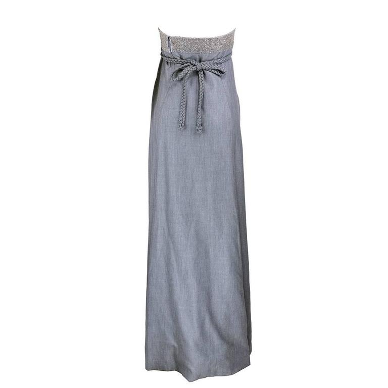 Chado Ralph Rucci Grey Silk Wool And Chiffon Strapless Gown with Wrap 4