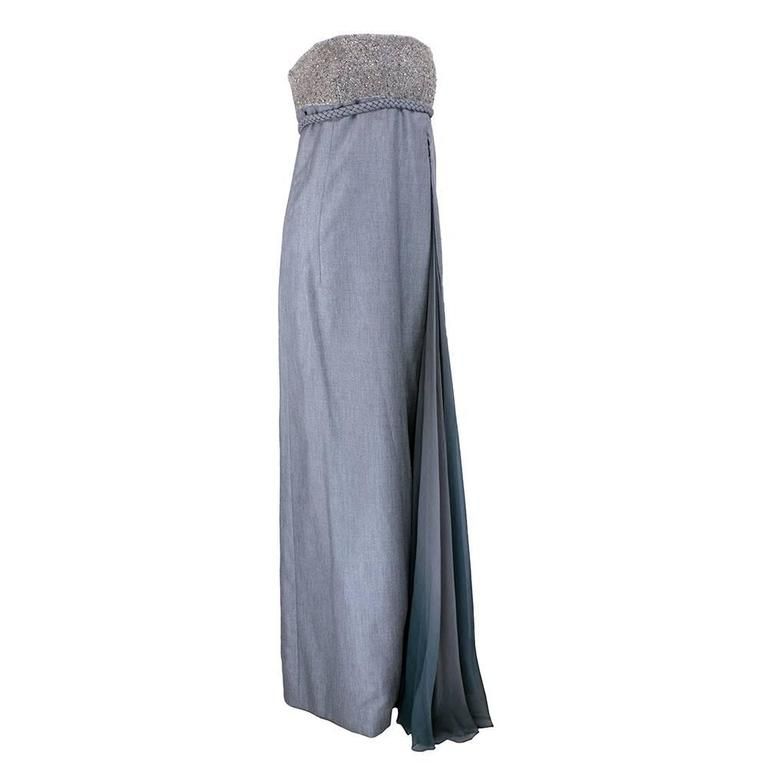 Chado Ralph Rucci Grey Silk Wool And Chiffon Strapless Gown with Wrap 2