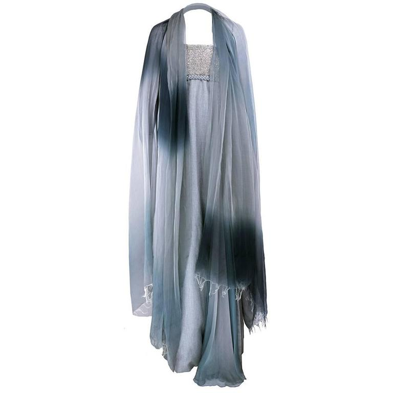 Chado Ralph Rucci Grey Silk Wool And Chiffon Strapless Gown with Wrap 3