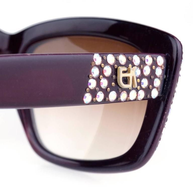 Emmanuelle Khanh 80s Iconic Burgundy Rhinestone Encrusted Sunglasses 2