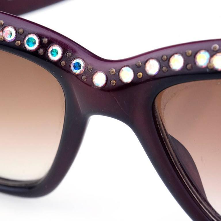 Emmanuelle Khanh 80s Iconic Burgundy Rhinestone Encrusted Sunglasses 3