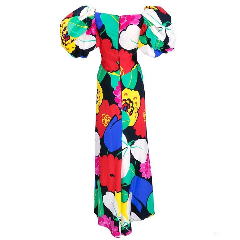 Arnold Scaasi 80s Warhol-esque Floral Print Gown 2