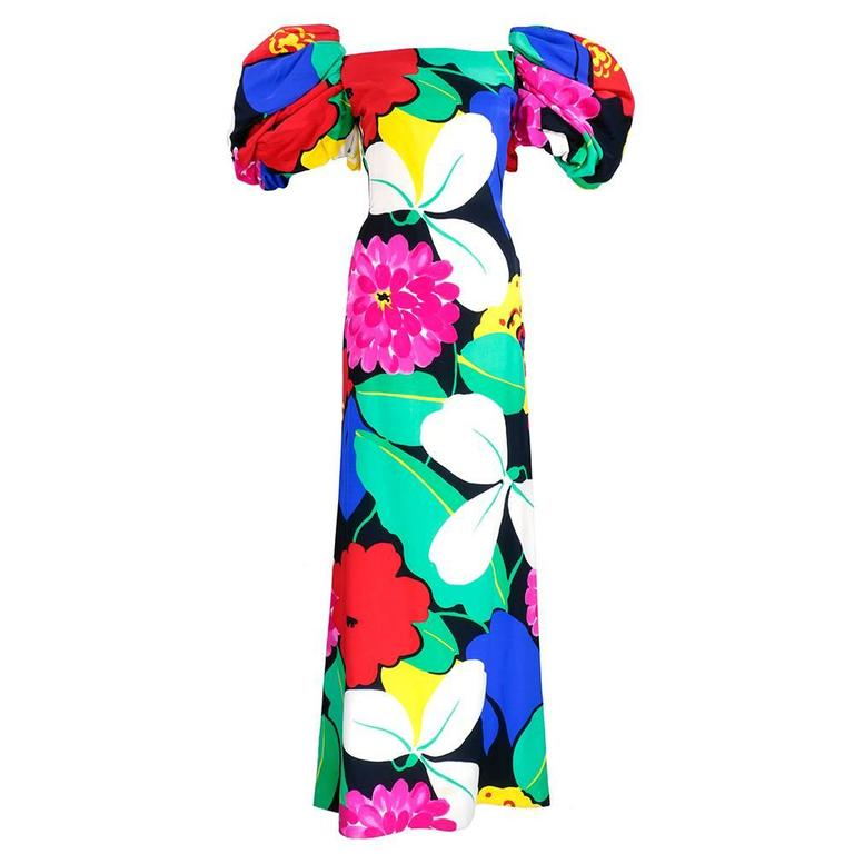 Arnold Scaasi 80s Warhol-esque Floral Print Gown 1