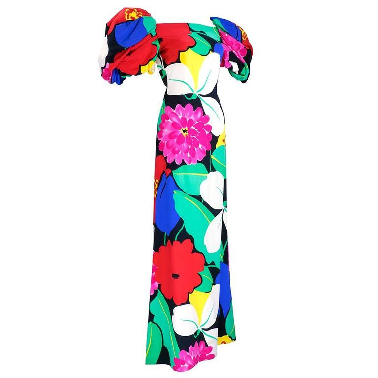 Arnold Scaasi 80s Warhol-esque Floral Print Gown 3