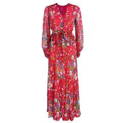 Yves Saint Laurent Rive Gauche Red Floral Chiffon Ensemble